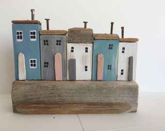 Driftwood Cottages, Driftwood Houses, Coastal Seaside Beach Ornament, Miniature Houses, Nautical, Shabby Chic Unique Gift