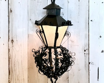 Vintage c.50-60/'s HUGE 39/'/'Hanging GOTHIC LANTERN CHURCH Chandelierlight fixture