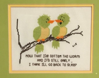 Humorous Framed Crosstitch with Birds in Yellow Orange and Green, Funny Early Bird Catches The Worm with a Humorous Side.#10