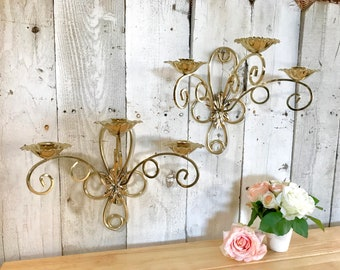Wall Candle Sconce Set, Gold Metal 3 Candle Sconces, Wall Candle Holders, Gold Wall Candelabras, Spray Paintable!  #R6