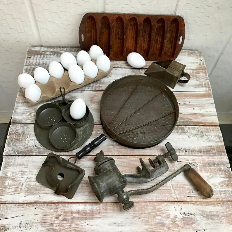 Antique Kitchen Gadget Lot, Unusual Farmhouse Rustic Country Kitchen Tools,  1897 Fairgrieve\'s Toaster, Tin Egg Poacher, Cornbread Pan & More