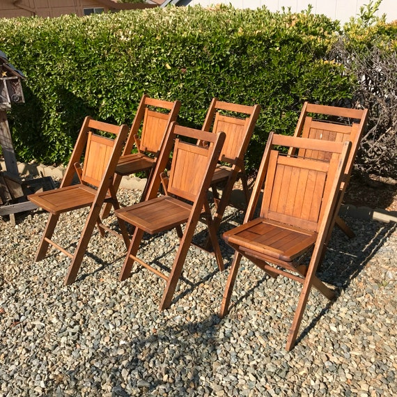 Sensational 1930S Folding Wood Chair Set Of 6 National Chair Co We Are Bears On Chairs Rustic Wooden Folding Chairs Wood Slat Folding Church Chairs Ncnpc Chair Design For Home Ncnpcorg