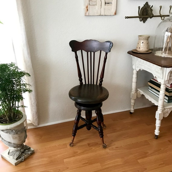 Chas Parker Co Meriden Ct Piano Stool Antique Furniture