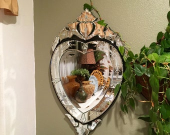 Large Venetian Heart Shaped, Etched, Beveled Mirror plus Vanity mirror for Beth!