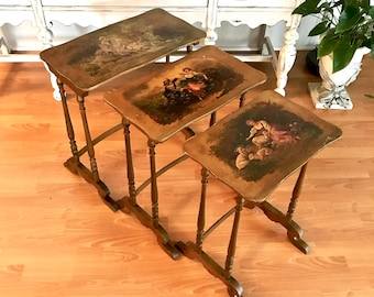 French Vernis Martin Nesting Tables, Set of 3 Vernis Martin Stacking Tables, Late 19th Century, Gold Gilt Hand Painted Interlocking Tables