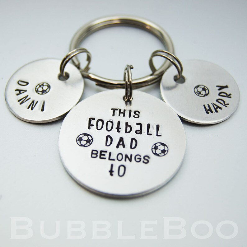 Handmade Hand Stamped Personalised Daddy Father Football Gift Keyring Birthday