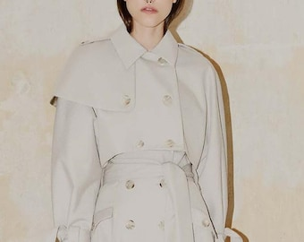 Light Beige Short Trench with Buttoned Epaulets and Storm Flaps, Crop Length Trench Coat with Double Breasted Front, Down to Breasts Trench