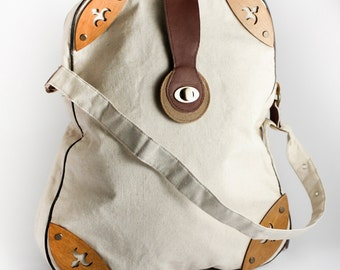Shoulder Bag, Birthday Gift for Her, Diaper Shopping Bag, Laptop Tote, Rustic Decorated Bag, Messenger Bag, Beige Tote, Hobo Bag, Art Bag