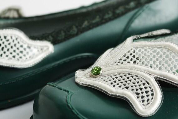 Grüne Schuhe der Frauen, barfuß Schuhe, Schuhe, 60er Jahre personalisierte Schuhe, Hipster Schuhe, Schuhe, Ballerinas, Damenschuhe, Sommer Wohnungen
