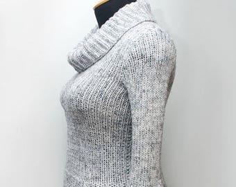 Knitted grey gress, light-grey dress, winter dress, ribbed dress, long dress, warm dress, woolen dress, casual dress, women's clothing