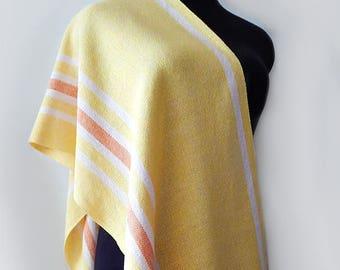 Handwoven linen yellow scarf, handwoven yellow wrap, bright-yellow scarf, womens scarf, linen wrap, summer scarf, bright-yellow wrap