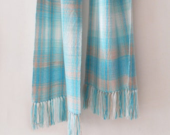 Handwoven wool scarf, beige scarf, blue scarf, turquoise scarf, womens scarf, handwoven wrap, winter scarf, wool scarf, woven wrap