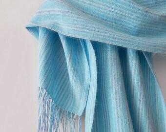 Handwoven wrap, womans woven scarf, blue wrap scarf, angora wrap scarf, womens wrap, winter scarf