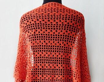 Crochet cotton shawl, red shawl, orange shawl, terracotta shawl, lace shawl, summer shawl, crochet accessory, gift for her