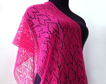 Knitted pink lace scarf, knitted fuchsia scarf, mohair scarf, bright-pink scarf, knitted women's scarf, hot-pink scarf, kid-mohair scarf