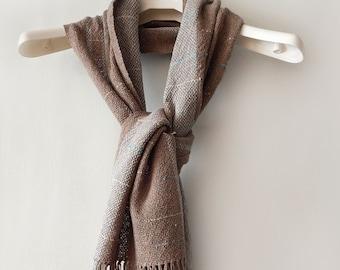 Handwowen cotton scarf, cotton scarf, boho scarf, brown scarf, beige scarf, woven scarf, handwoven wrap, spring scarf, autumn scarf