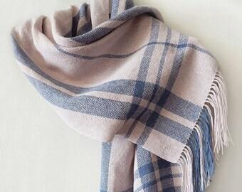 Handwoven linen scarf, ecru scarf, stripped scarf, milky scarf, handwoven wrap, womens scarf, woven linen wrap, summer scarf, linen scarf