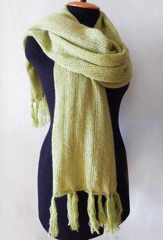 Foulard en dentelle vert tricoté tricot longue et large   Etsy d5f42c8bc2f