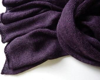 Knitted dark-purple alpaca scarf, women's scarf, dark-violet merino scarf, purple alpaca wrap, dark-violet merino stola, purple alpaca stola