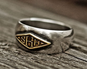monogram ring, word ring, initial ring, name ring, mens ring, vintage ring, silver ring, engraved ring, personalized ring, custom ring