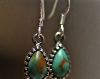 turquoise earring, teardrop earring, stone earring, silver earring, cute earring, native american earring, drop shape earring