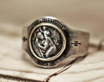 St. Christopher ring, vintage ring, rustic ring, bulky ring, menly ring, mens ring, Catholic ring, guardian