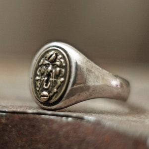 crest ring bas relief mens ring menly ring rustic ring vintage ring medieval ring signet ring brass ring raised ring ram ring