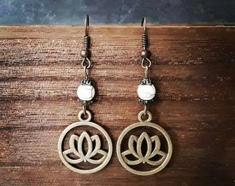 Lotus flower earrings, lotus earrings, lotus jewelry, gift idea under 10, yoga meditation, bronze color, mother's day