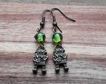 Robot earrings, robot jewelry, glass beads, geek jewelry, gift idea under 10, steampunk earrings, retro earrings, choice of colors