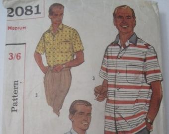 Simplicity 2081 50s mens shirt size medium chest 38-40