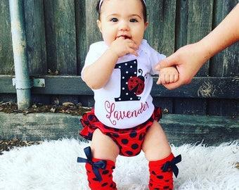 Ladybug birthday, ladybug onesie, ladybug bloomer, diaper cover, birthday outfit, first birthday, baby girl onesie, first birthday, baby 1st