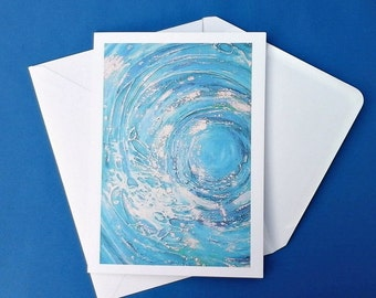 Greeting card, abstract sea art picture, blank card, write your own message, for all occasions, beach surfer artwork from original painting