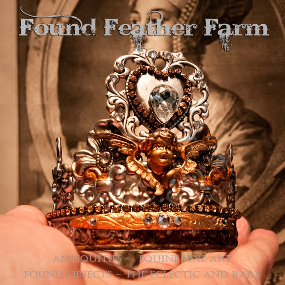 Beautiful Rusted Silver Handmade Crown with a Layered Silver Heart Detail and Rust colored Rhinestones