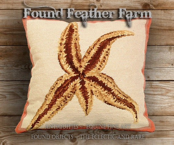 Handmade Needlepoint Pillow Featuring an Ocean Sea Star with a Down Insert