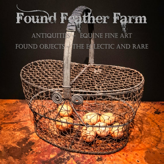 Antique English Chicken Wire Egg Basket