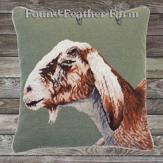 "Handmade Wool Needlepoint Pillow of an 18"" x 18"" English Nubian Goat with Goose Down Fill"