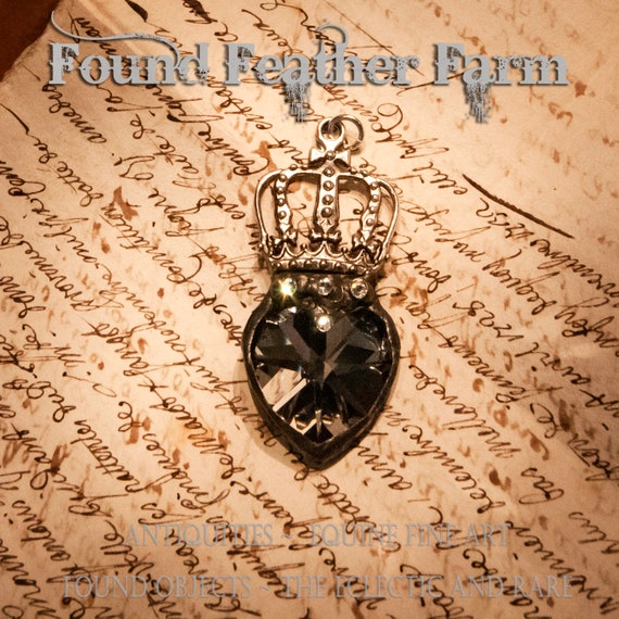 Handmade Soldered Silver Crystal Heart Pendant with a Weathered Pewter Patina and Four Rhinestone Jewels