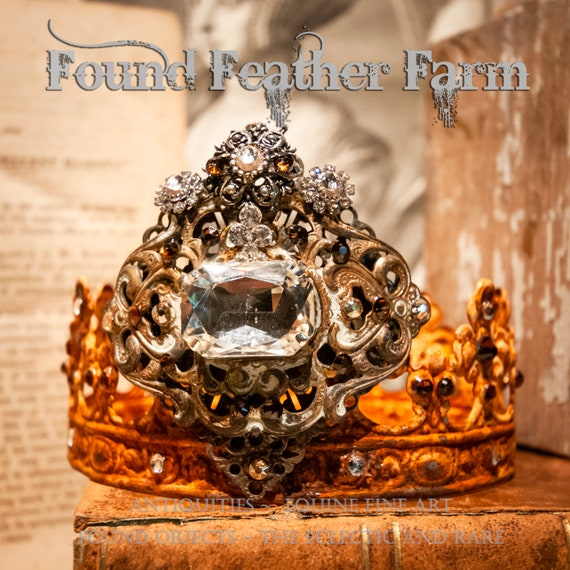 Handmade Rusted King's Crown Heavily Adorned with Sparkling Rhinestones and Vintage Jewels