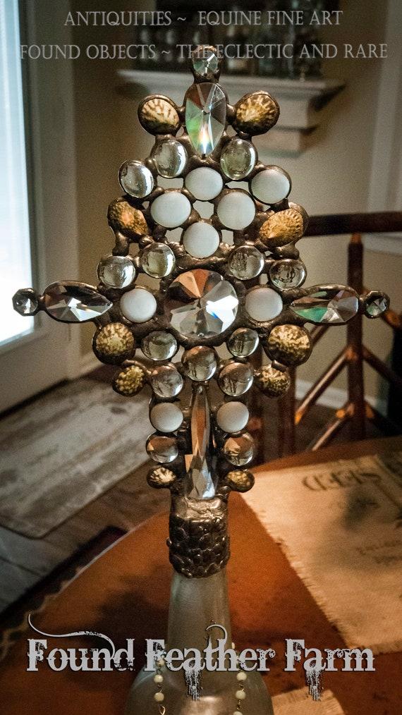 Stunning Handmade Glass Cross Bottle with Circa 1800's Milky Azure Glass Bottle and Glass Gems
