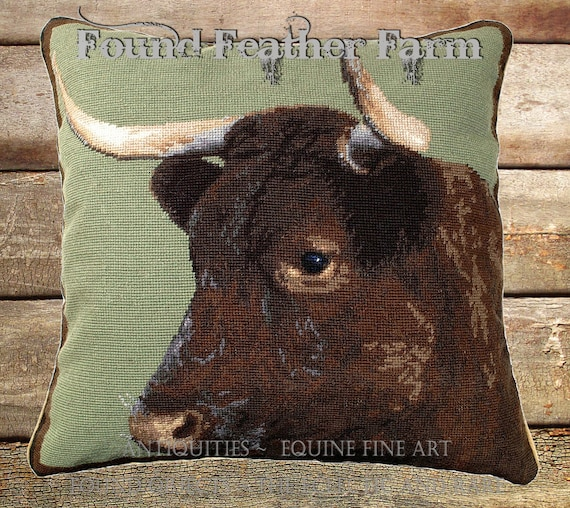 "Handmade Wool 20"" x 20"" Needlepoint Pillow of a Milking English Devon Cow with Down Fill"