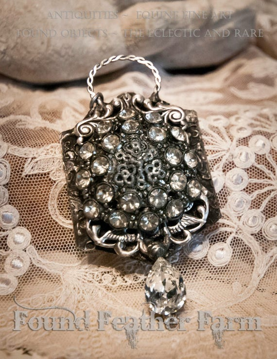 Handmade Jewelry Pendant with Vintage Jewelry, Sparkling Rhinestones and Nickel Silver Victorian Detail