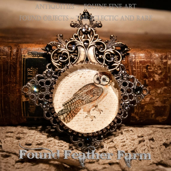 Handmade  Magnet with a Jeweled Embellished Small Glass Cabochon Featuring a Vintage Owl Image
