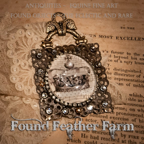 Handmade Magnet with a Jeweled Embellished Glass Cabochon Featuring an English Crown Image