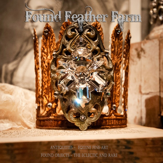 Wonderful Rusted Acanthus Crown Adorned Featuring an Oval Bronze Detail Encrusted with Sparkling Crystals