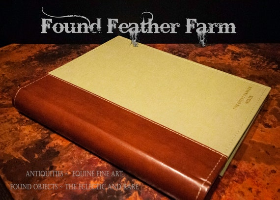 "Photo Album Tobacco Leather and Sage Cloth Embossed with ""The Gypsy Vanner Horse"" in Gold"