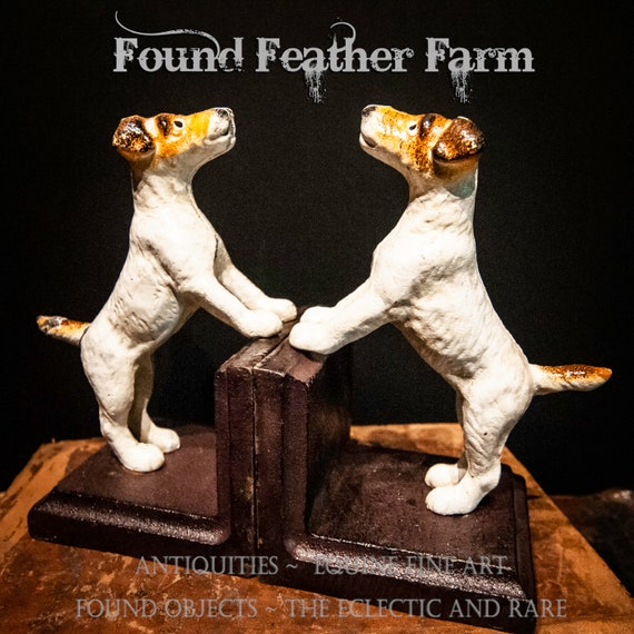 A Clever Set of Vintage Inspired Cast Iron Terrier Bookends