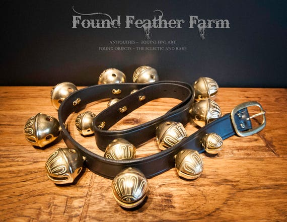 Vintage Solid Brass and Leather Sleigh Bells