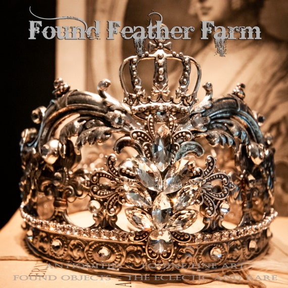 Handmade Silver Metal Crown with Ornate Silver Acanthus Swashes, A Silver Crown and Sparkling Rhinestones