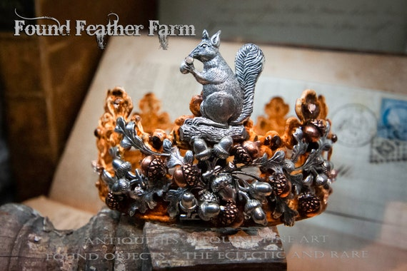 Handmade Rusted Tin Crown with Silver Squirrel, Leaves and Acorns