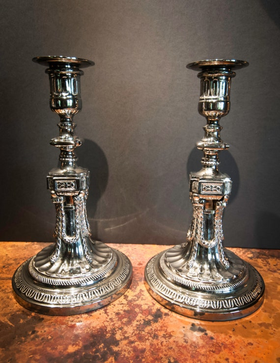 Heavy Vintage Silver Plate Candlesticks